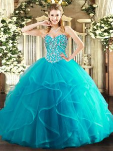 Top Selling Teal Ball Gowns Beading and Ruffles Sweet 16 Dress Lace Up Tulle Sleeveless Floor Length