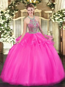 Glorious Halter Top Sleeveless Tulle Sweet 16 Dresses Beading and Ruffles Lace Up