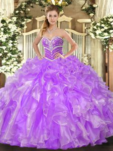 Fashion Lavender Sleeveless Beading and Ruffles Floor Length Quince Ball Gowns