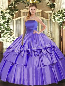 Lavender Strapless Lace Up Ruffled Layers Sweet 16 Quinceanera Dress Sleeveless