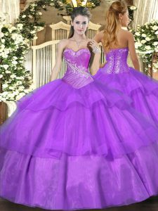 Great Floor Length Lilac Sweet 16 Dress Tulle Sleeveless Beading and Ruffled Layers