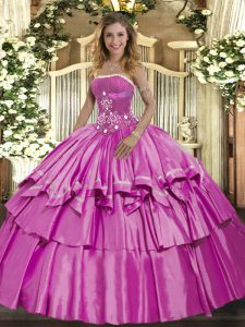 Strapless Sleeveless Lace Up Sweet 16 Quinceanera Dress Lilac Organza and Taffeta