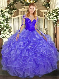Romantic Scoop Long Sleeves Quince Ball Gowns Floor Length Lace and Ruffles Lavender Organza