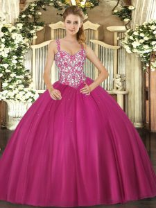 Top Selling Tulle Straps Sleeveless Lace Up Beading and Appliques Sweet 16 Quinceanera Dress in Fuchsia