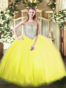 Traditional Yellow Green Sleeveless Tulle Zipper Quinceanera Dresses for Military Ball and Sweet 16 and Quinceanera