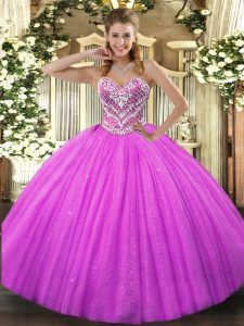 Sumptuous Beading Sweet 16 Quinceanera Dress Fuchsia Lace Up Sleeveless Floor Length