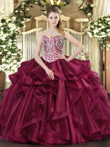 Sweetheart Sleeveless Sweet 16 Dresses Floor Length Beading and Ruffles Wine Red Organza
