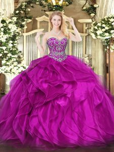 Simple Fuchsia Sleeveless Organza Lace Up 15th Birthday Dress for Military Ball and Sweet 16 and Quinceanera