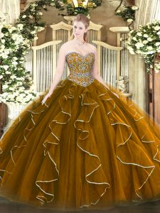 Fashionable Brown Sweetheart Lace Up Beading and Ruffles Quinceanera Gowns Sleeveless
