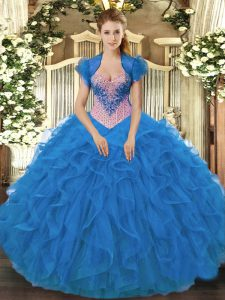 Customized Blue Sleeveless Beading and Ruffles Floor Length Quinceanera Gowns