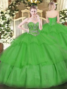 Green Sleeveless Floor Length Beading and Ruffled Layers Lace Up Quinceanera Dress