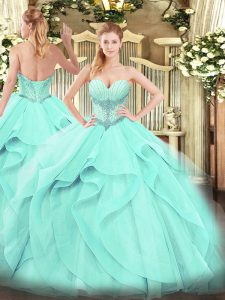Enchanting Floor Length Aqua Blue Sweet 16 Quinceanera Dress Sweetheart Sleeveless Lace Up