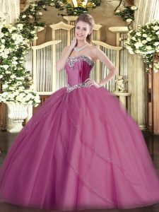 Stunning Lilac Ball Gowns Beading 15th Birthday Dress Lace Up Tulle Sleeveless
