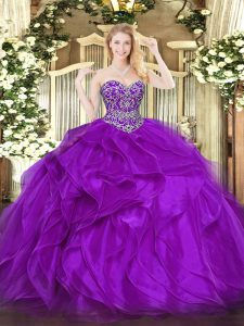 Sexy Eggplant Purple Sweetheart Lace Up Beading and Ruffles Sweet 16 Dress Sleeveless
