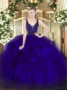 Dramatic Blue Sleeveless Floor Length Beading and Ruffles Zipper Quinceanera Dress