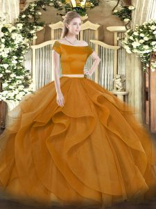 Off The Shoulder Short Sleeves 15 Quinceanera Dress Floor Length Appliques and Ruffles Brown Tulle