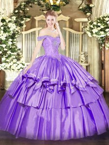 Exquisite Sleeveless Floor Length Beading and Ruffled Layers Lace Up Quinceanera Gown with Lavender