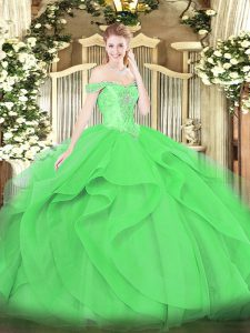 Affordable Green Ball Gowns Off The Shoulder Sleeveless Tulle Floor Length Lace Up Beading and Ruffles Sweet 16 Quinceanera Dress