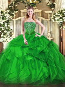 Strapless Sleeveless Organza 15 Quinceanera Dress Beading and Ruffles Lace Up
