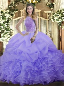 Graceful Lavender Quinceanera Dresses Military Ball and Sweet 16 and Quinceanera with Beading and Ruffles and Pick Ups High-neck Sleeveless Lace Up