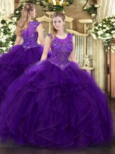 Sleeveless Beading and Ruffles Zipper Quinceanera Gowns