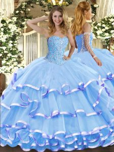 Floor Length Aqua Blue Sweet 16 Quinceanera Dress Sweetheart Sleeveless Lace Up