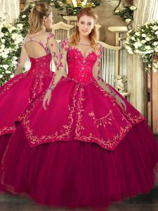 Comfortable Wine Red Lace Up Scoop Lace and Embroidery Quinceanera Dress Organza and Taffeta Long Sleeves