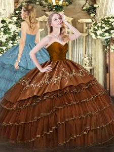 Exquisite Brown Zipper Sweetheart Embroidery and Ruffled Layers Quinceanera Gown Organza and Taffeta Sleeveless