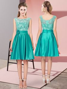 Sleeveless Satin Mini Length Zipper Prom Evening Gown in Turquoise with Lace and Hand Made Flower
