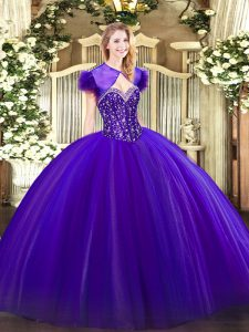 Ball Gowns Quinceanera Dresses Purple Sweetheart Tulle Sleeveless Floor Length Lace Up