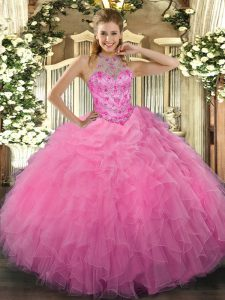 Captivating Sleeveless Organza Floor Length Lace Up Quinceanera Dress in Rose Pink with Beading and Embroidery and Ruffles