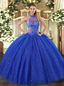 Decent Tulle and Sequined Sleeveless Floor Length Vestidos de Quinceanera and Beading and Embroidery