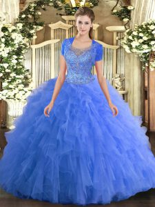 Sumptuous Baby Blue Scoop Clasp Handle Beading and Ruffled Layers Quinceanera Dresses Sleeveless