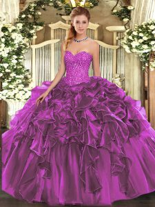 Floor Length Lace Up Sweet 16 Dress Purple for Military Ball and Sweet 16 and Quinceanera with Beading and Ruffles