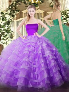 Discount Lilac Ball Gowns Tulle Strapless Sleeveless Ruffled Layers Floor Length Zipper Sweet 16 Dresses