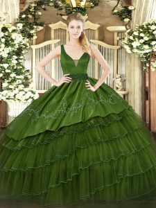 Luxurious Dark Green Sleeveless Floor Length Beading and Embroidery and Ruffled Layers Zipper Sweet 16 Dress