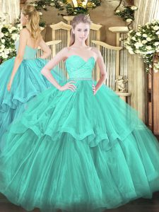 New Style Turquoise Sleeveless Beading and Lace and Ruffled Layers Zipper 15th Birthday Dress