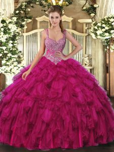 Fuchsia Sleeveless Beading and Ruffles Floor Length Quince Ball Gowns