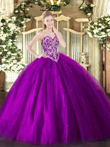 Eggplant Purple Lace Up Sweet 16 Quinceanera Dress Beading Sleeveless Floor Length
