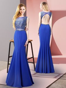 Floor Length Royal Blue Evening Dress Scoop Sleeveless Backless