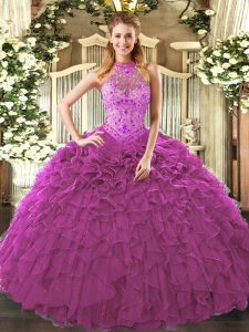 Fuchsia Ball Gowns Embroidery and Ruffles Ball Gown Prom Dress Lace Up Organza Sleeveless Floor Length