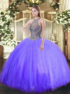 Romantic Halter Top Sleeveless Lace Up Quince Ball Gowns Lavender Tulle