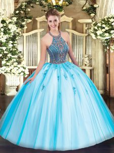Aqua Blue Lace Up Halter Top Beading and Appliques Sweet 16 Dresses Tulle Sleeveless