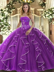 Floor Length Purple Quinceanera Dresses Strapless Sleeveless Lace Up