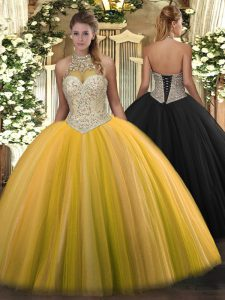 Stunning Tulle Halter Top Sleeveless Lace Up Beading Vestidos de Quinceanera in Gold