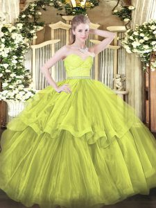 Glorious Brush Train Ball Gowns Quinceanera Gowns Olive Green Sweetheart Tulle Sleeveless Zipper