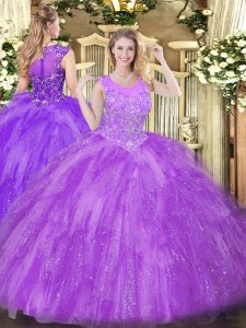 Dynamic Beading and Ruffles 15 Quinceanera Dress Lavender Zipper Sleeveless Floor Length