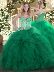 Top Selling Dark Green Ball Gowns Beading and Ruffles Sweet 16 Quinceanera Dress Lace Up Organza Sleeveless Floor Length
