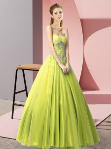 Most Popular Yellow Green Lace Up Prom Dresses Beading Sleeveless Floor Length