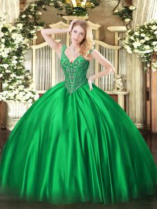Decent Green 15th Birthday Dress Military Ball and Sweet 16 and Quinceanera with Beading V-neck Sleeveless Lace Up